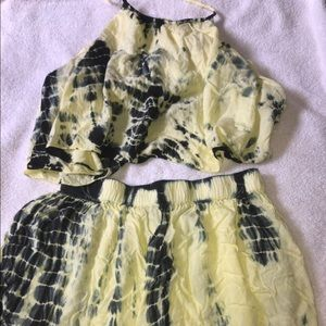 Black and yellow tie dye two piece shorts set